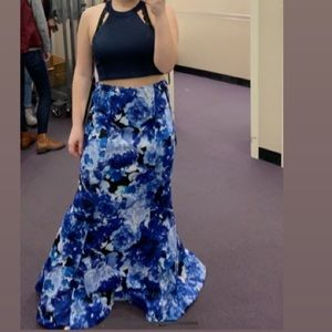 Floral, 2 Piece, Halter Prom Dress